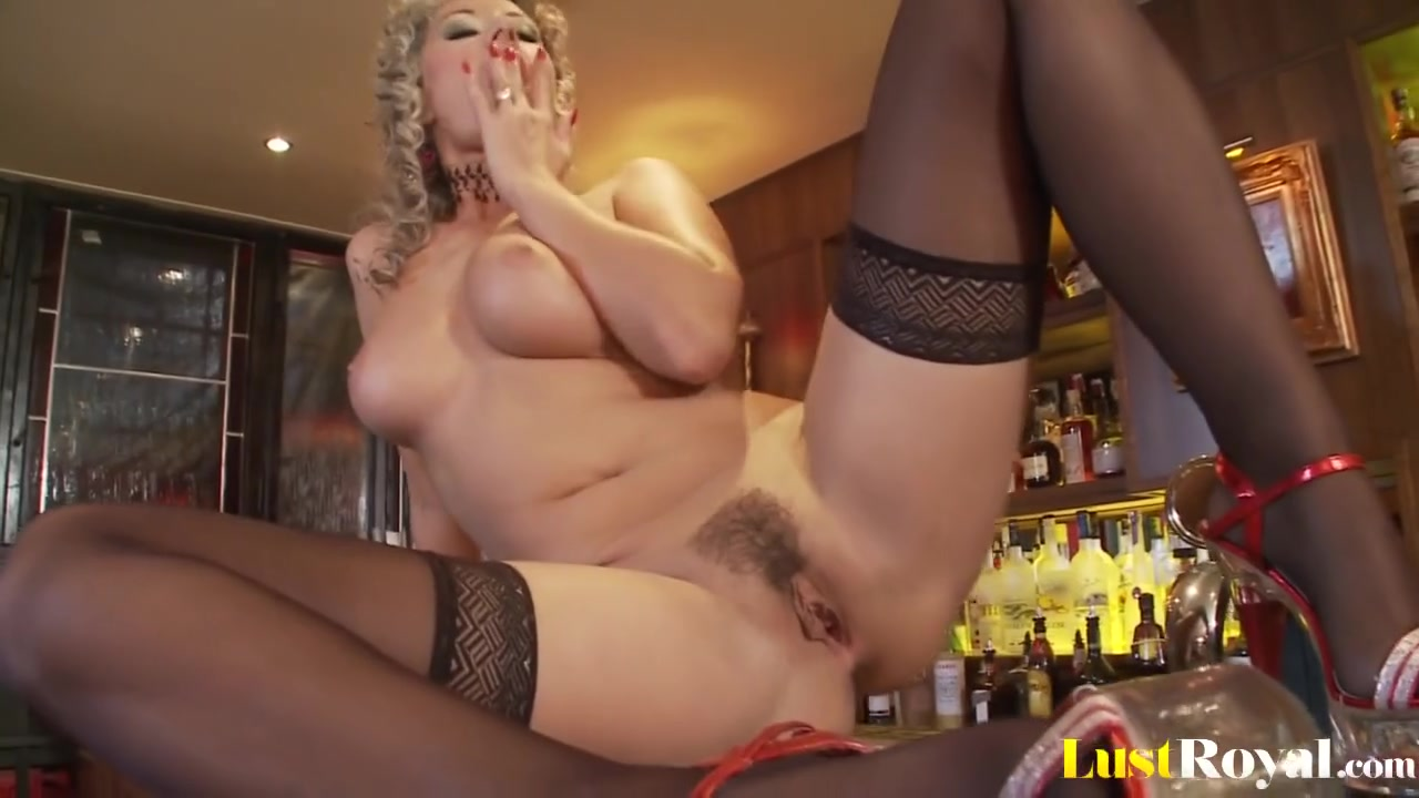 Black Stockings, High Heels, Hairy Pussy and Big Natural Tits Daria Glower