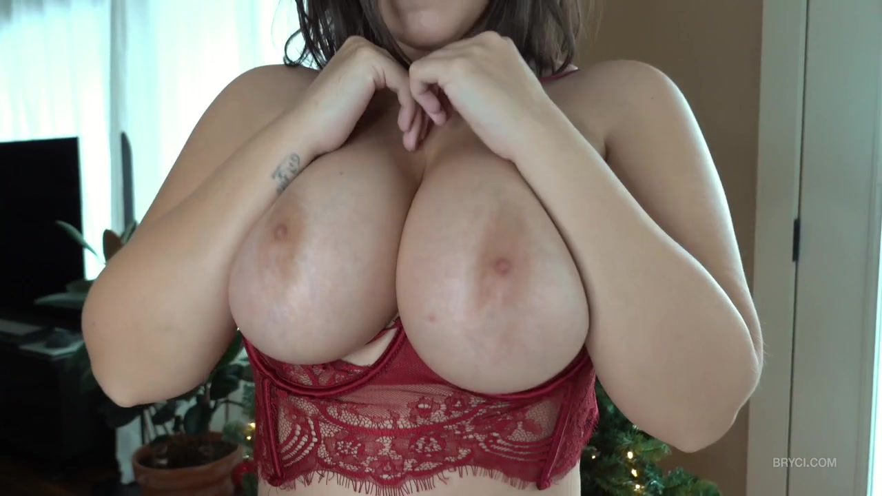 Bryci - Merry Xmas - solo striptease & POV blowjob in sexy red lingerie