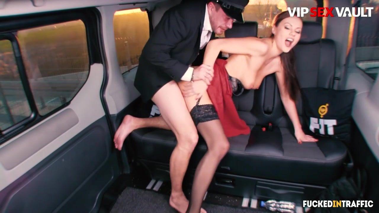 Leggy Tina Kay - Big Tits British MILF Drilled On The Back Seat - Brunette