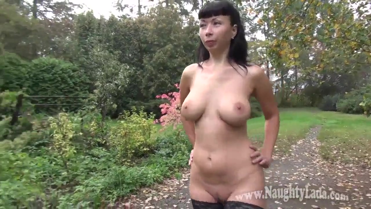 Naked Russian mom at public park and railway station - Flashing - Milf
