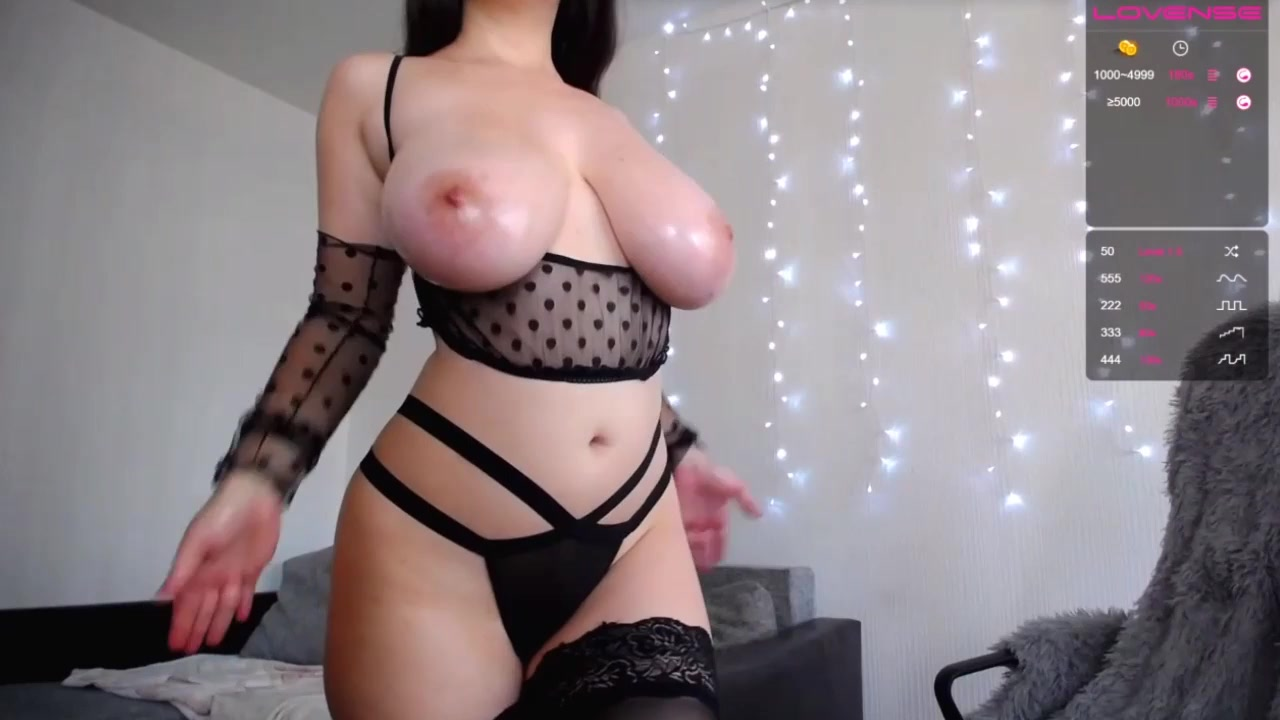 Kitty tits - monster boobs and self spanking on webcam