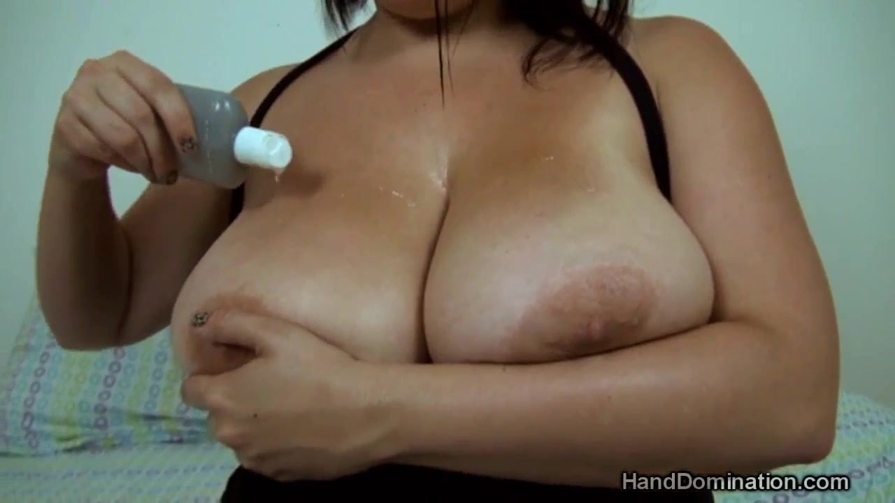 POV handjob for cum on her big natural tits on webcam