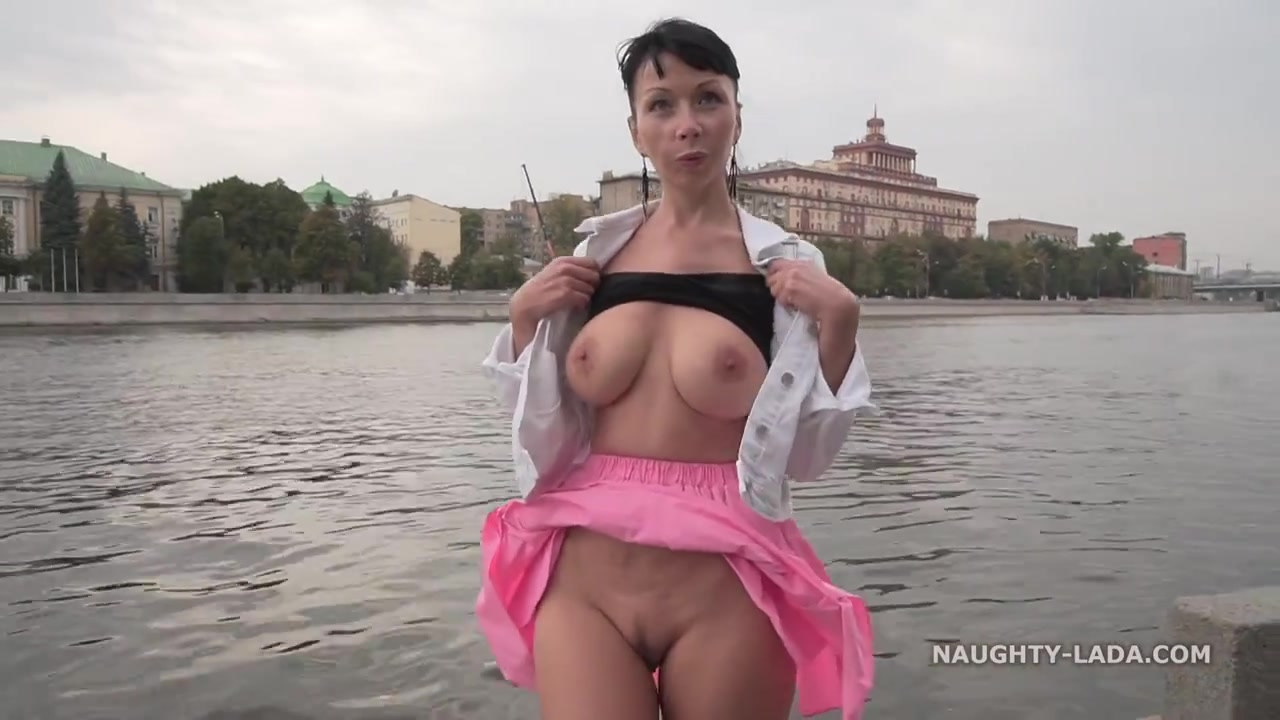 Naughty Russian MILF Exhibitionist Flashin DownTown by the River