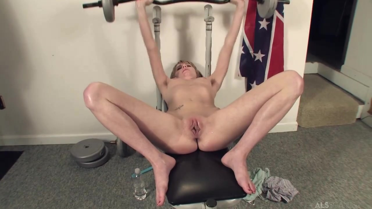 super skinny slut with perky tits kelly klass working out in gym