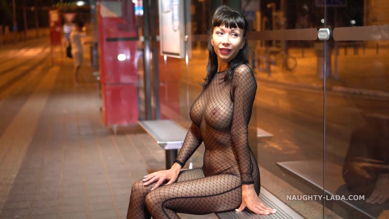 Naughty Russian MILF Exhibitionist Downtown in sexy fishnet bodystocking