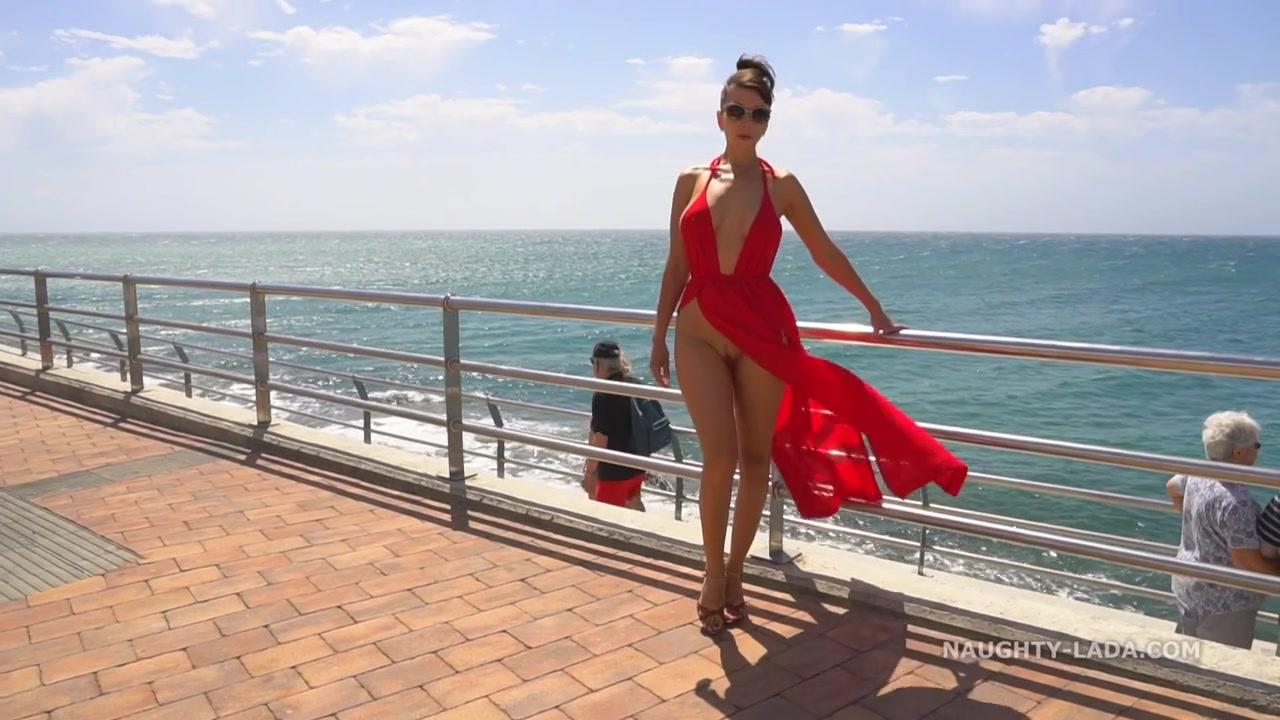 Naughty exhibitionist MILF - Red Dress on Public Beach