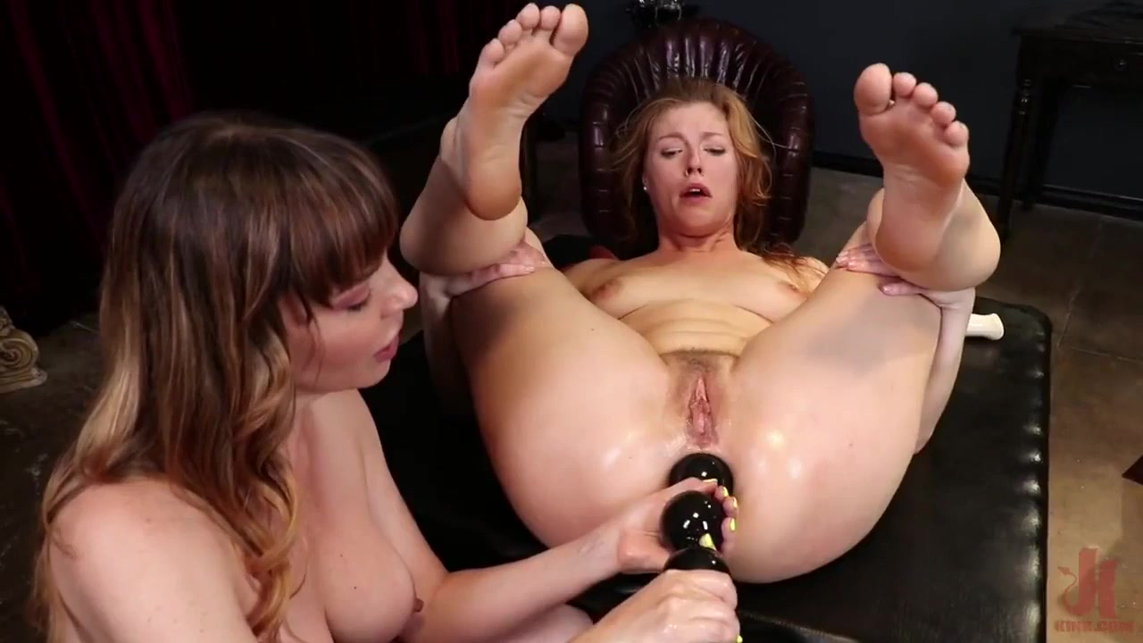 A slave takes her mistresse's dildos in her welcoming asshole - lesbian femdom with dana dearmond